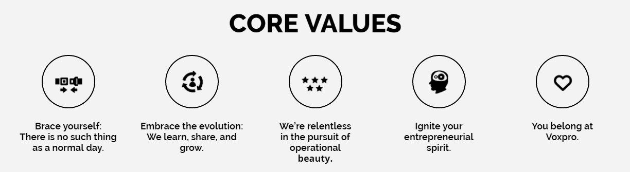 Core values of Voxpro