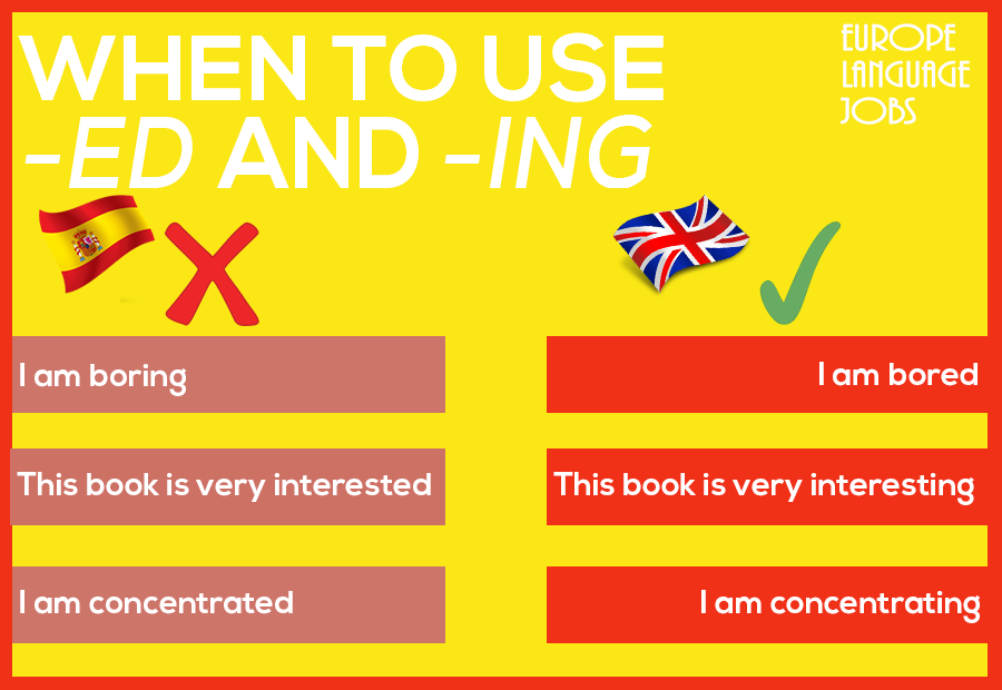 Use of -ed and -ing in English